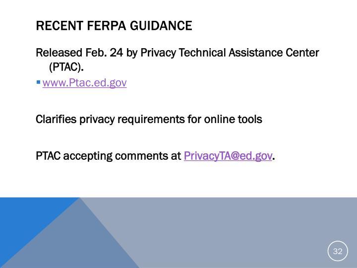 Recent FERPA Guidance