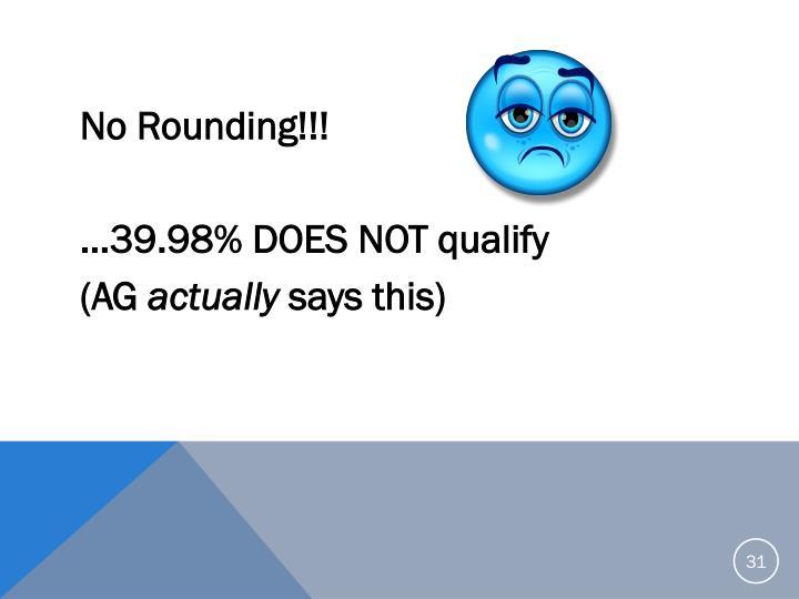No Rounding!!!