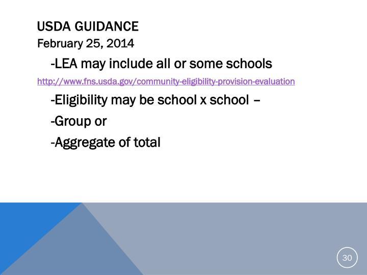 USDA Guidance