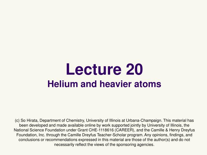 Lecture 20 helium and heavier atoms