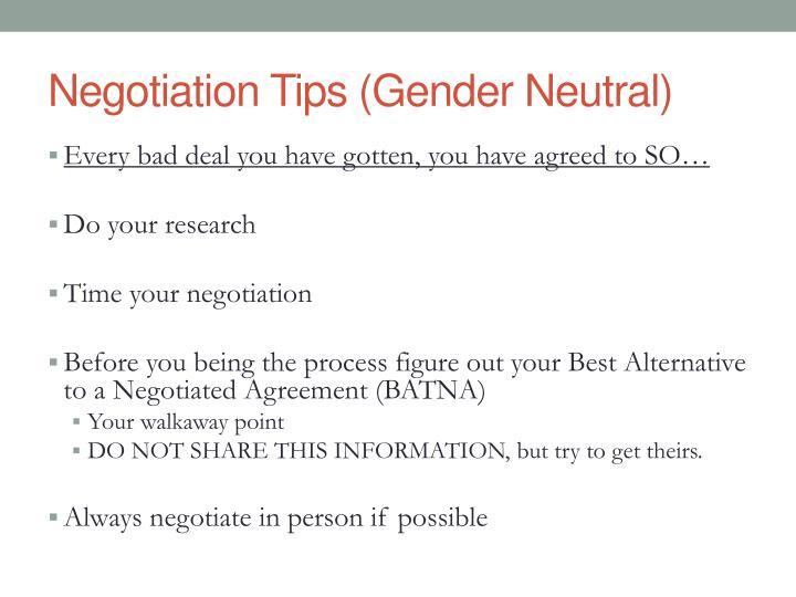 Negotiation Tips (Gender Neutral)