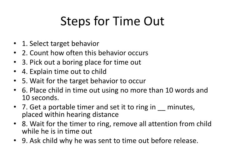 Steps for Time Out