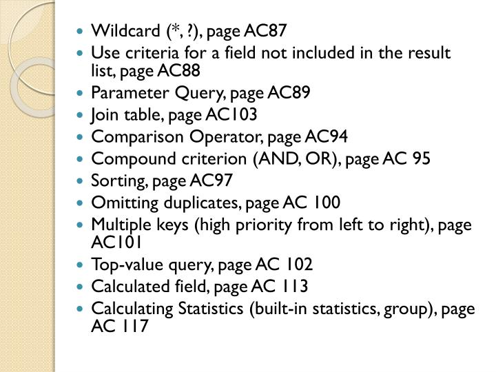 Wildcard (*, ?), page AC87