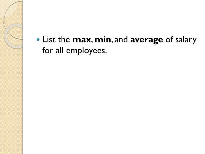 List the