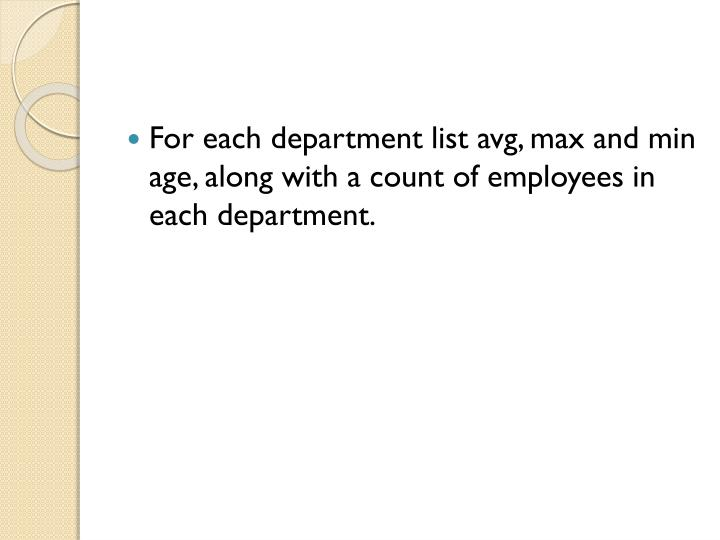 For each department list