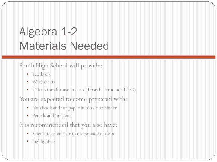 Algebra 1-2