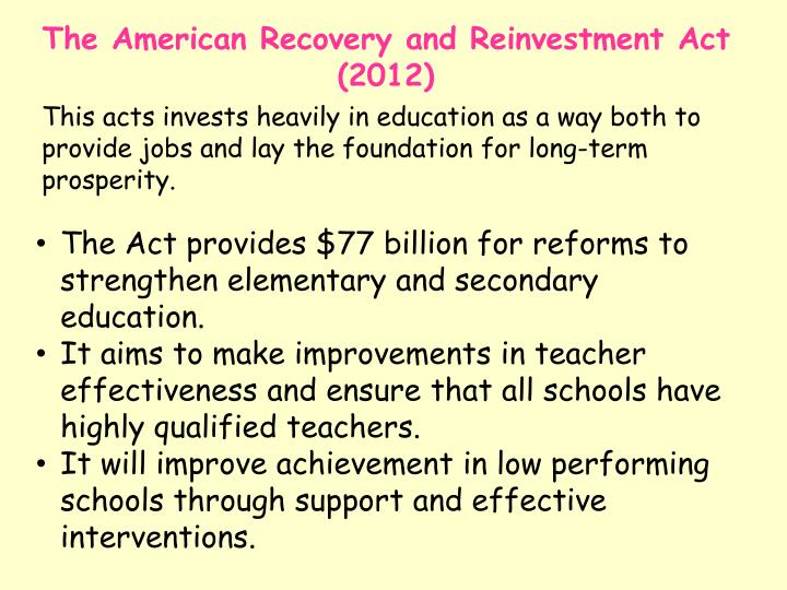The American Recovery and Reinvestment Act (2012)
