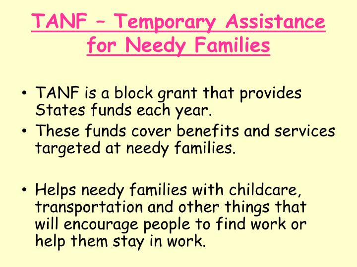 TANF – Temporary Assistance for Needy Families