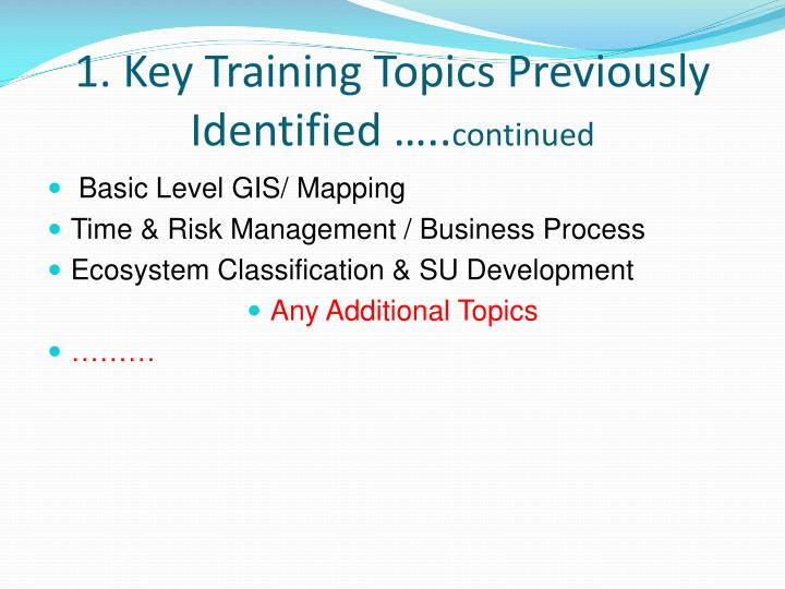 1. Key Training Topics Previously Identified …..