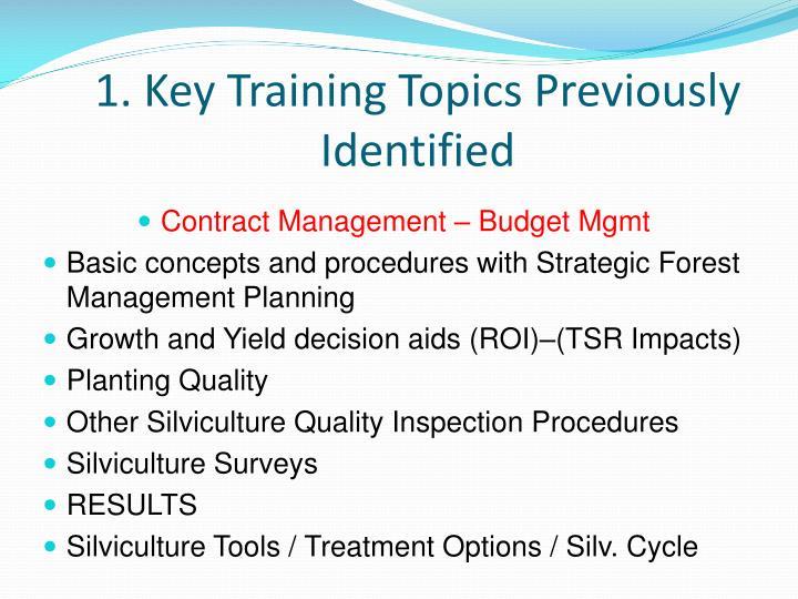 1. Key Training Topics Previously Identified