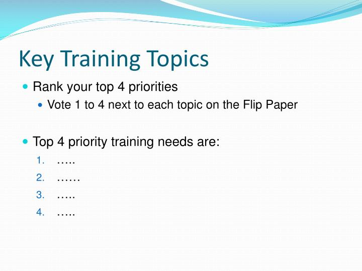 Key Training Topics