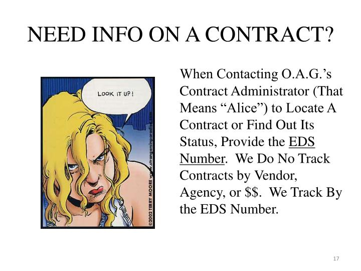 NEED INFO ON A CONTRACT?