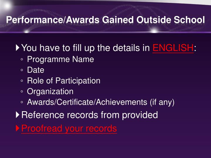 Performance/Awards Gained Outside School