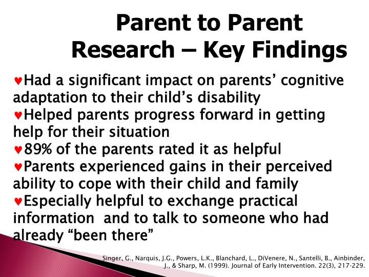 Parent to Parent Research – Key Findings