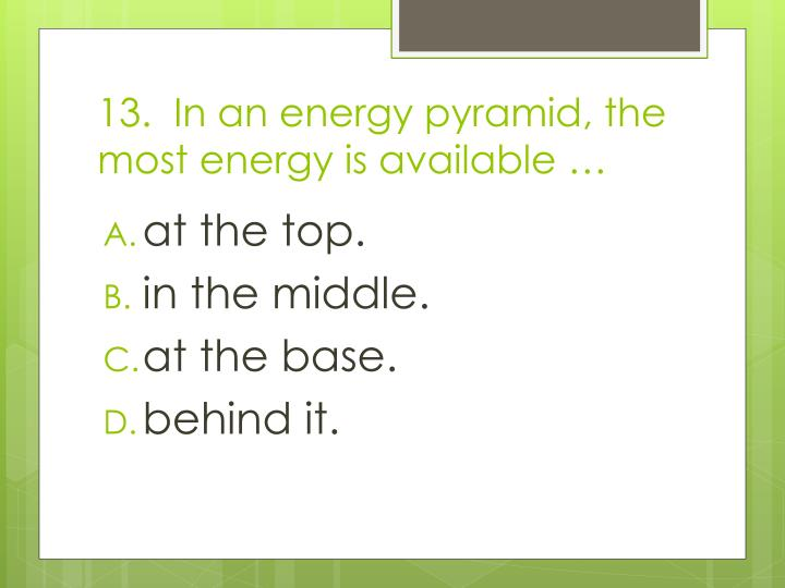 13.  In an energy pyramid, the most energy is available …