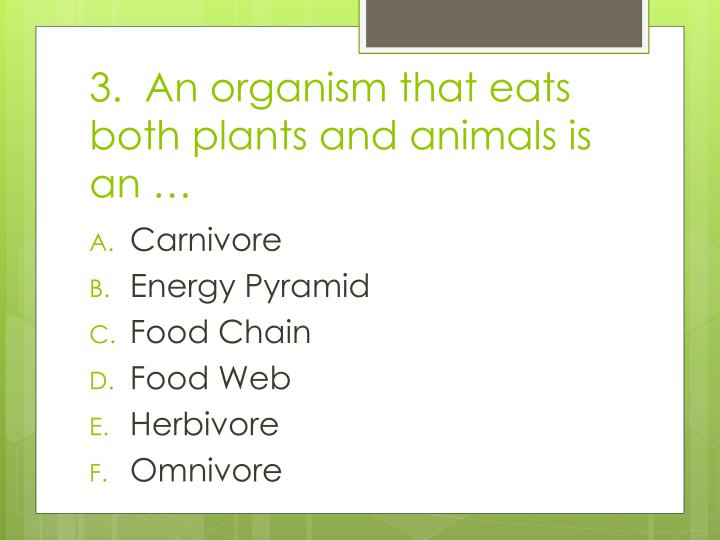 3.  An organism that eats both plants and animals is an …