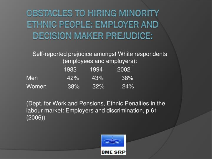 Self-reported prejudice amongst White respondents (employees and employers):
