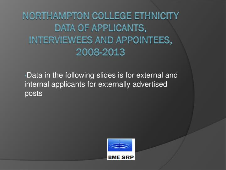 Data in the following slides is for external and internal applicants for externally advertised posts