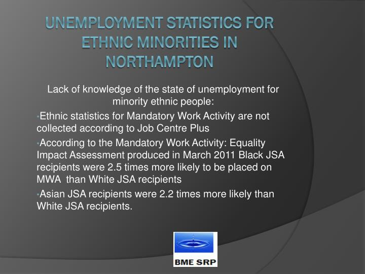 Lack of knowledge of the state of unemployment for minority ethnic people:
