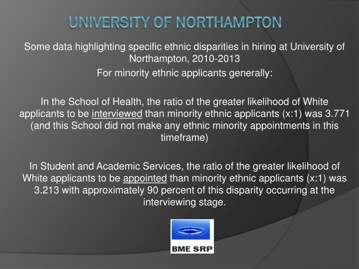 Some data highlighting specific ethnic disparities in hiring at University of Northampton, 2010-2013