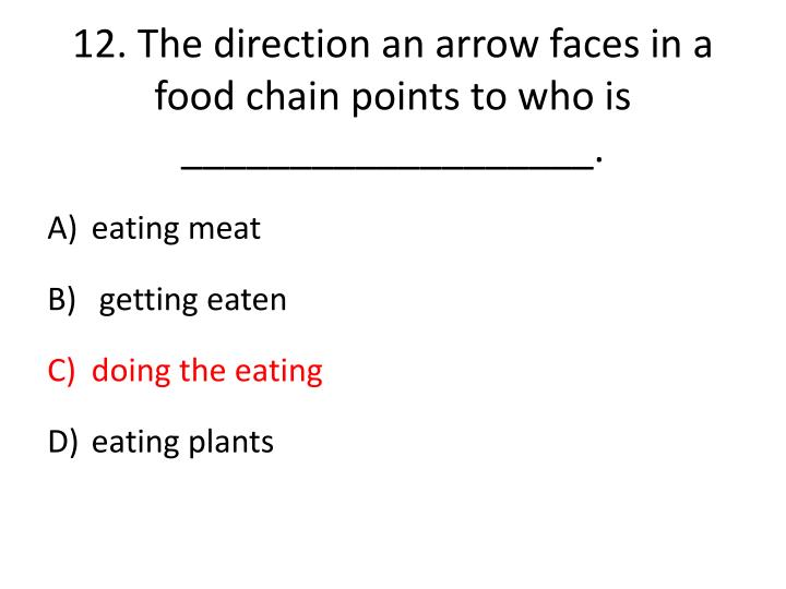 12.The direction an arrow faces in a food chain points to who is ___________________.