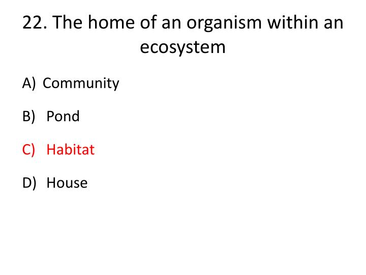 22.The home of an organism within an ecosystem