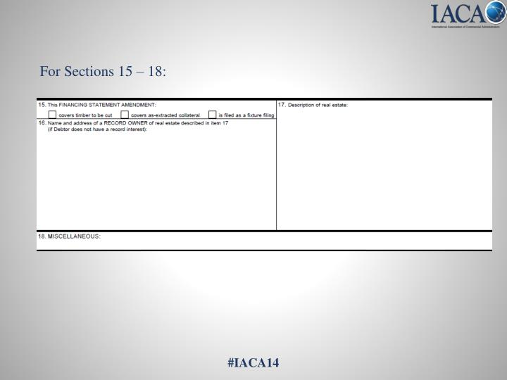 For Sections 15 – 18: