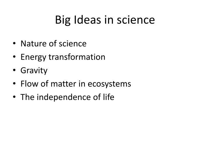Big Ideas in science