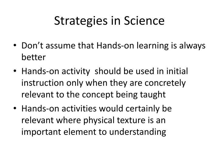 Strategies in Science