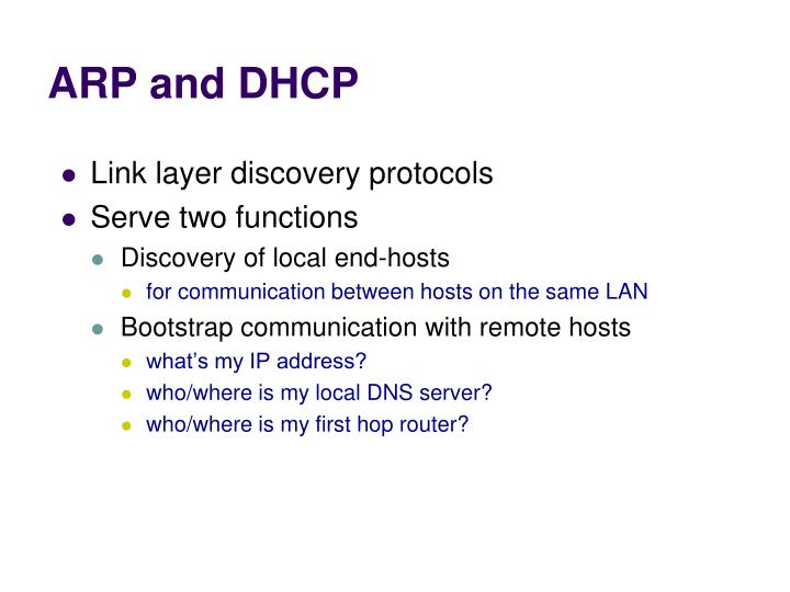 ARP and DHCP