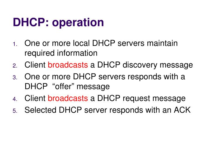 DHCP: operation