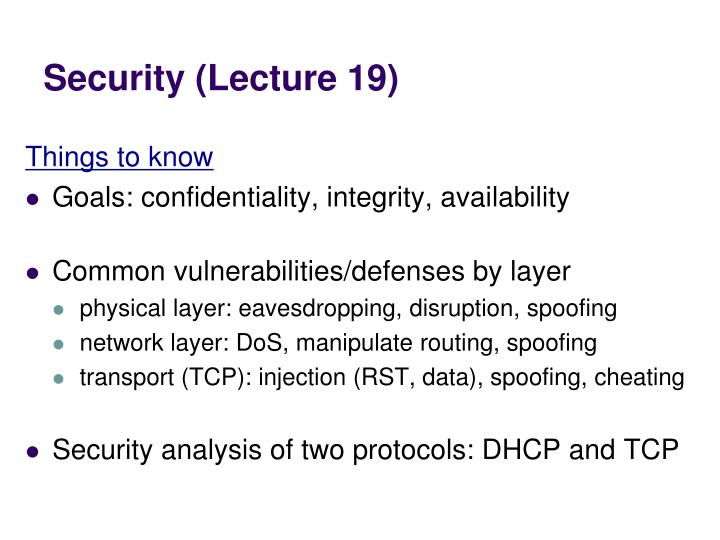 Security (Lecture 19)