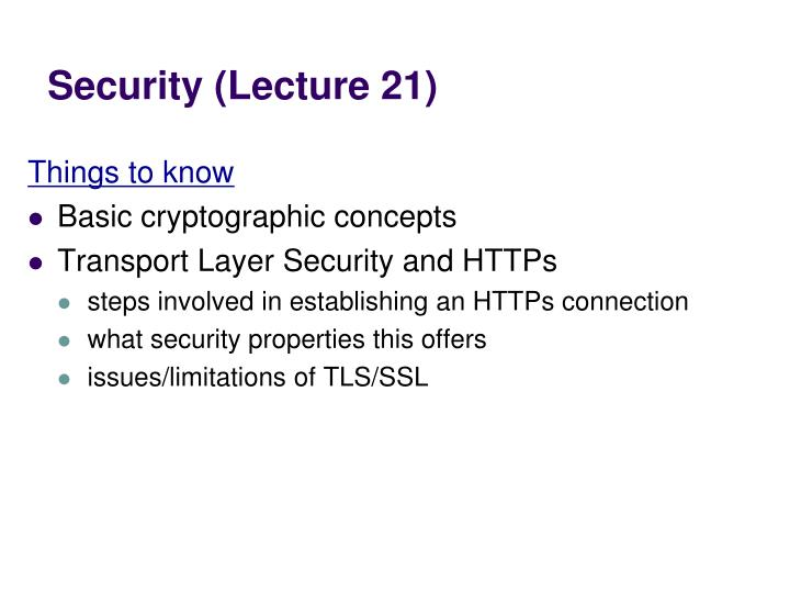 Security (Lecture 21)