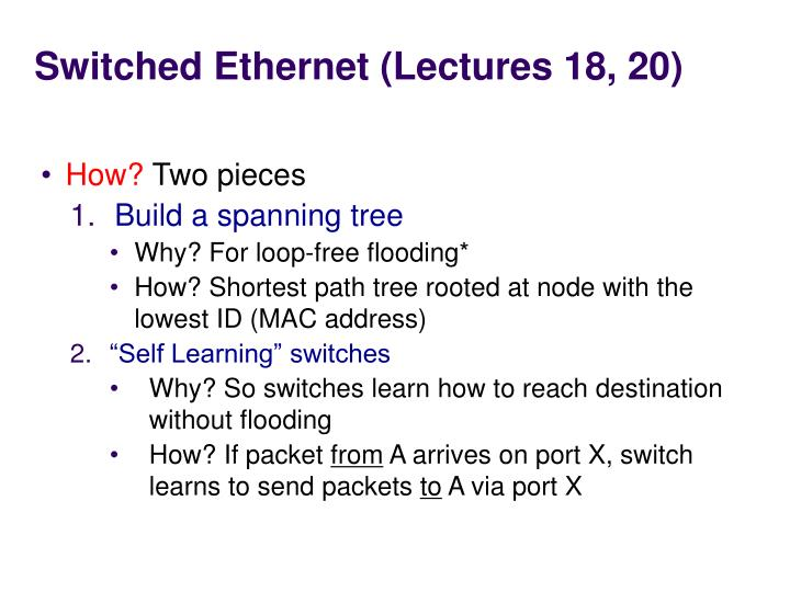 Switched Ethernet (Lectures 18, 20)