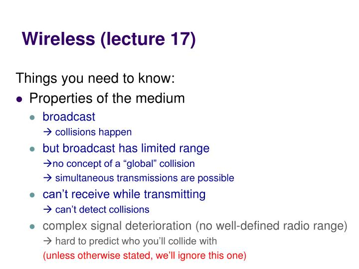 Wireless (lecture 17)
