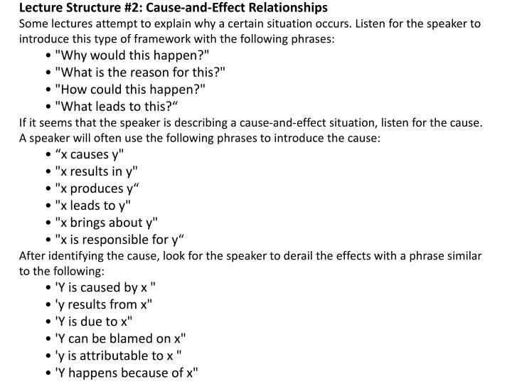 Lecture Structure #2: Cause-and-Effect Relationships