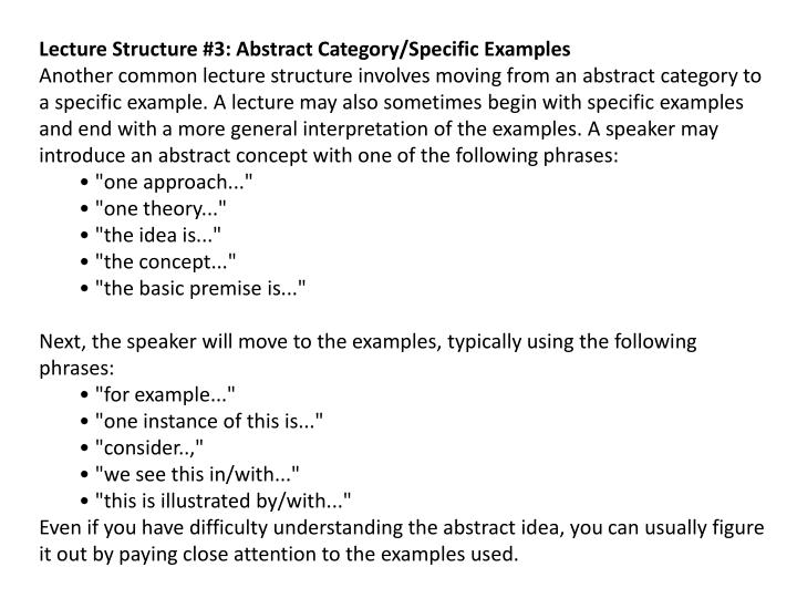 Lecture Structure #3: Abstract Category/Specific Examples