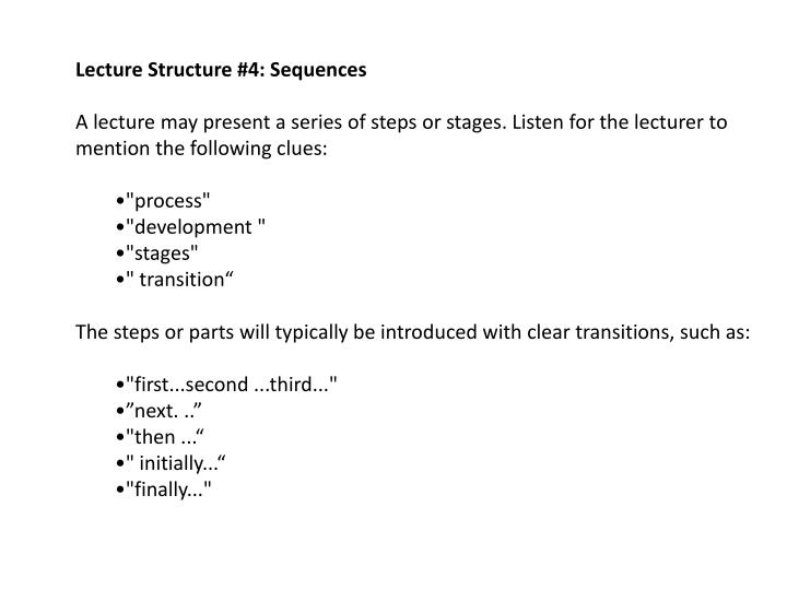 Lecture Structure #4: Sequences