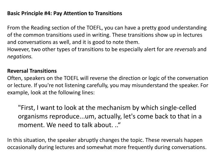 Basic Principle #4: Pay Attention to Transitions