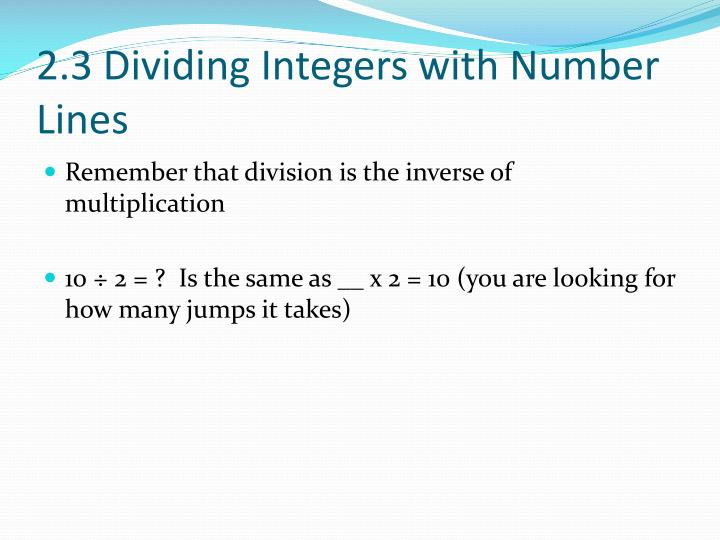 2.3 Dividing Integers with Number Lines