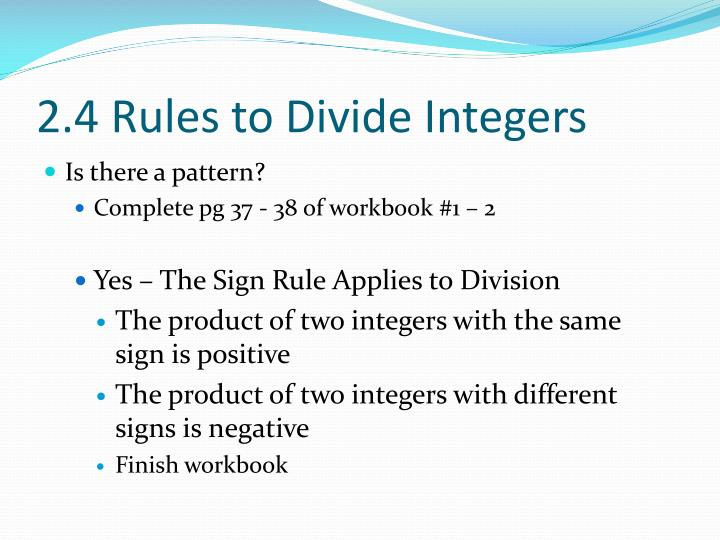2.4 Rules to Divide Integers