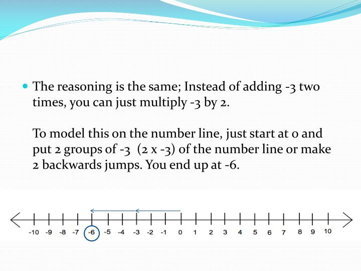 The reasoning is the same; Instead of adding -3 two times, you can just multiply -3 by 2.
