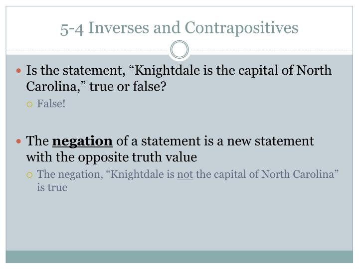 5-4 Inverses and Contrapositives