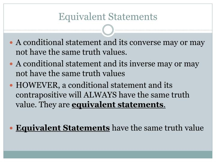 Equivalent Statements