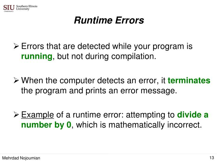 Errors that are detected