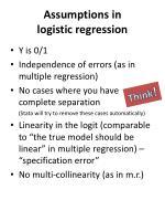 assumptions in logistic regression