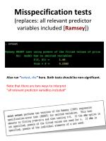 misspecification tests replaces all relevant predictor variables included ramsey