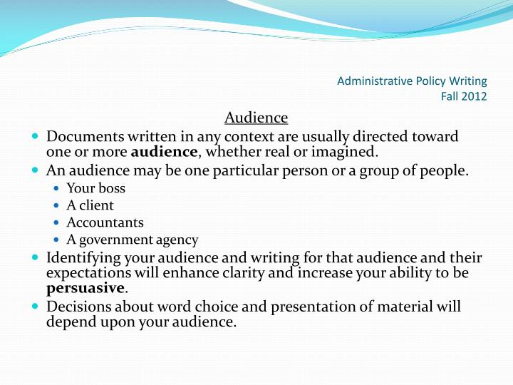 Administrative Policy Writing