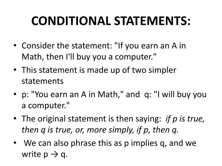 CONDITIONAL STATEMENTS: