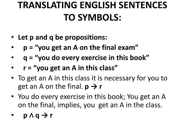 TRANSLATING ENGLISH SENTENCES TO SYMBOLS: